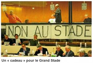 anonymous dit non au nouveau grand stade de l'Olympique Lyonnais