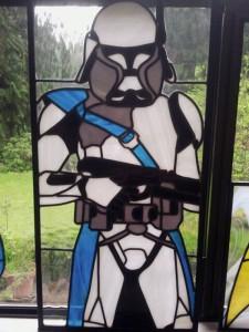 un vitrail avec un stormtrooper Clone-Trooper star wars