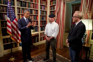 President Barack Obama records an episode of the Discovery Channel's television show Mythbusters with co-hosts Jamie Hyneman and Adam Savage in the Library of the White House, July 27, 2010. (Official White House Photo by Chuck Kennedy)
