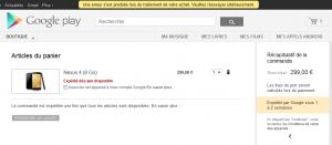 Une erreur se produit lors de l'achat du Nexus 4 LG Google