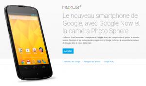 Le Nexus 4 de nouveau disponible à l'achat
