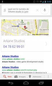 Numero de téléphone Arkane Studios avec Google Now commande vocale