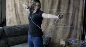 Le controleur de jeu vidéo mad genius skyrim fille femme arc futur geek gamer gameuse