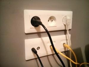 Bloc prise murale électrique rj45 télé cable