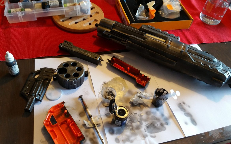 pistolet nerf lance flechette custom steampunk