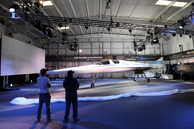 The XB-1 Supersonic Demonstrator Jet at Boom Technology in Centennial, Colorado.